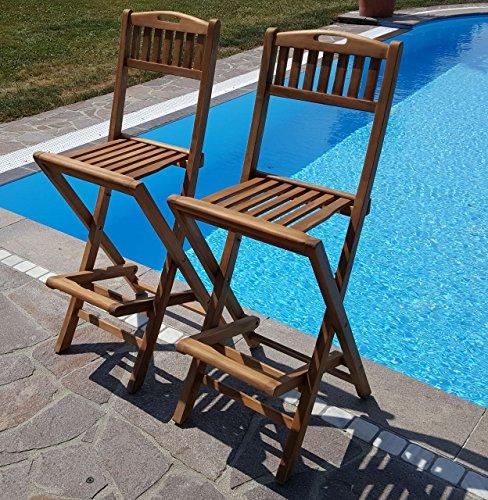 AS-S 2Stück TEAK Design Barhocker Barsessel Sessel Holzsessel Gartensessel Gartenmöbel Holz Modell: BIMA von AS-S