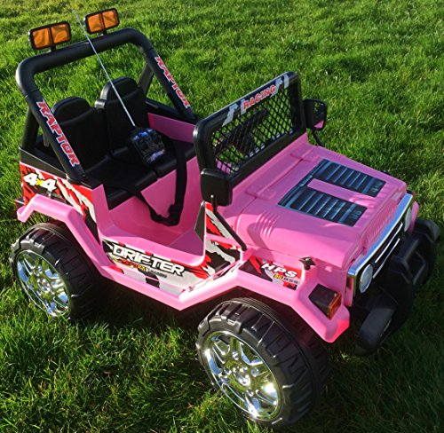Image of KIDS 12V RAPTOR ELECTRIC RIDE ON CAR 4X4 JEEP   2-SEATER   REMOTE CONTROL   PINK