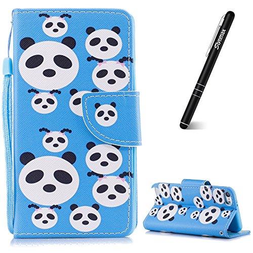 Slynmax Handytasche Kompatibel mit iPod Touch 5/6th,Leder Hülle für iPod Touch 5/6th Handy Flip Leder Tasche Handyhülle Stoßfest Klapphülle Brieftasche Lederhülle Kartenfächer Shell (Panda-Rätsel) - Fall Ipod Panda