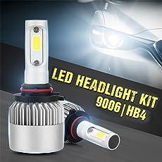 Ocamo Pack of 2 COB LED Auto Car Headlight, 40W 10000LM All In One Car LED Headlights Bulb Fog Light, White 6000K Head Lamp 9006/HB4