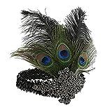 Sunbeter 1920 Flapper Headpiece Pavo Real Feather Headband Vintage con lentejuelas Rhinestone Hairband Fiesta de Halloween Pluma Celada para Las Mujeres