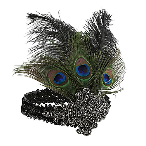 e Flapper Headpiece Pfau Feder Stirnband Vintage Pailletten Strass Haarband Halloween Party Feder Kopfschmuck für Frauen ()