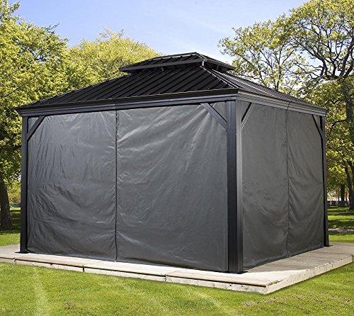 Sojag Aluminium Pavillon Messina 12x16 Vorhänge Seitenteile Dunkelgrau/passend für Gartenlaube Messina