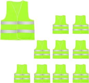 Aieoe 10 Stück Erwachsener Reflektorweste Sicherheitsweste Für Fabrik Joggen Bauen Radfahren Bekleidung