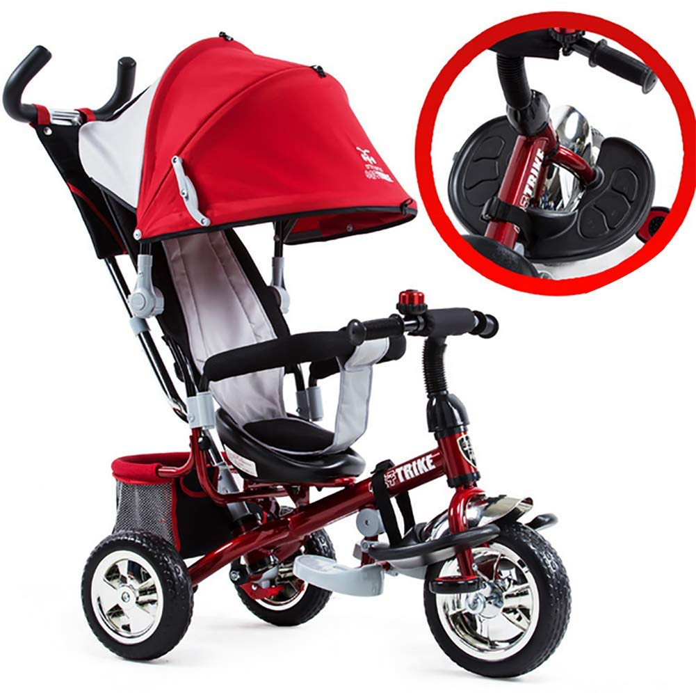 Tricycle Children's Trike with Sun Canopy and Removable Parent Handle Buggy Stroller Fit from 6 Months to 6 Years Boys and Girls Colour Choice,Red GHDE& 4 IN 1 TRIKE: This is a growing with your child innovative kid trike, it follows with your baby's growing up and can be a baby bike, baby walker, or trike with parent pushing rod and canopy. Very Practical: Built with the sturdy aluminum alloy frame in superior strength, Non-slip handle with bell for best touch and added fun in riding, Anti-slip pedals make driving safer, foot brake, stop any time, back storage bin and front basket for storing child's essentials. A variety of safety features such as secure 3-point Y harness, extendable canopy, safety bar and non-slip pedals will all ensure a safe and worry-free ride for you both. 1