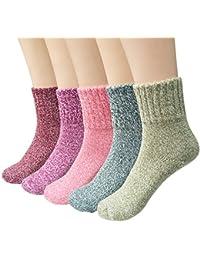 Ndier Lot de 5paires de chaussettes d'hiver Chaussettes en laine Femme confortable chaud, Multicolore