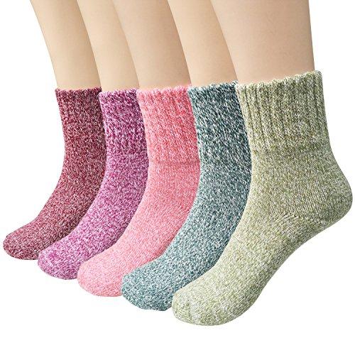 Ndier 5 Paar Frauen Wollsocken Winter Bequeme warme Socken Set, Multicolor (Wolle Thorlo Merino)