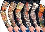 HugeStore 6 Stück Temporäre Gefälschte-Slip Tattoo Sleeves Arm Strümpfe Strümpfe Tätowierung Anziehen Kostüme Set C