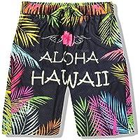 XiYunHan Pantalones de playa pantalones de flores secas de los hombres de Hawai pantalones cortos de malla transpirable de malla de vacaciones de vacaciones de playa (Size : L)