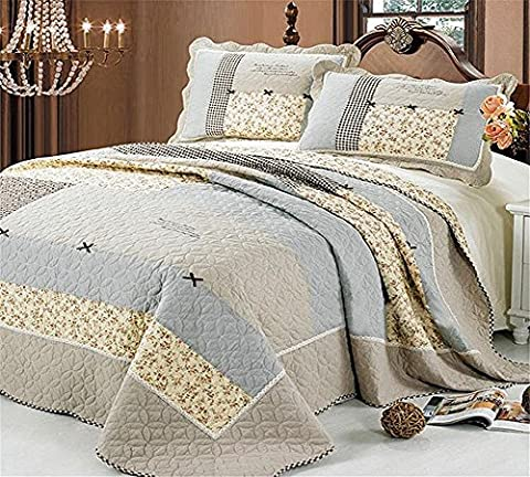 Beddingleer Luxury King Size 3 Piece Bow-Knot Floral Patchwork Bedspeads Quilt Comforter Sets Cotton Light
