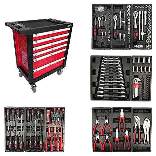 Werkstattwagen komplett befüllt mit Werkzeugen in 6 Schubladen Rollwagen