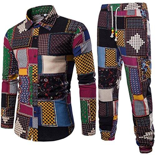 Uomo quadretti camicetta e pantaloni lino casual taglie forti 5xl slim fit maniche lunghe (73, m)