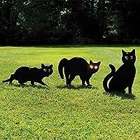 Garden Mile® Pack of 3 Black Powder Coated Metal Cat (Bird, Animal,Fox Humane Pest Control) Scarers,Wild Garden Animal Repeller, Bird Deterrent