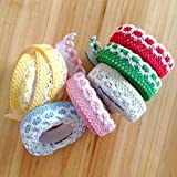 Okayji Adhesive Cloth Lace Tape Rolls for Arts, Crafts and Other Creative Projects, 6 -Pieces