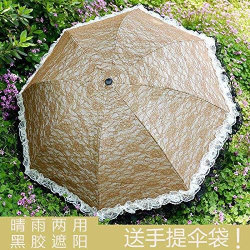 egen und Regen Dual-Use-Spitze Spitze Prinzessin Sonnenschirm Vinyl Anti-UV-Sonnenschutz @ Gold bestickte Spitze ()