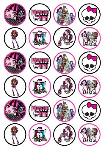 Image of Monster High Edible PREMIUM THICKNESS SWEETENED VANILLA,Wafer Rice Paper Cupcake Toppers/Decorations