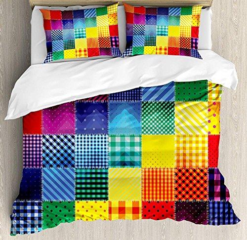 Abstrakte 3-teilige Bettwäsche Set Bettbezug Set, Regenbogen farbige quadratische verschiedene Muster Sammlung mit diagonalen Formen, 3 Stück Tröster / Qulit CoverSet mit 2 Kissenbezügen, Multicolor -