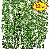 SunTop 2.1m Pianta Artificiale Edera Rampicante Ghirlanda - 12 Pezzi Pianta Artificiale Fiori Esterne per Festa di Matrimonio e la Decorazione della Parete di Giardino