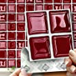 """RED GLASS MOSAIC EFFECT WALL TILES: Box of 18 tiles Stick and Go Wall Tiles 4""""x 4"""" (10cm x 10cm) Each box of tiles will cover an area of 2 SQR. FT. NO CEMENTING NO GROUTING NO MESS! TILE OVER ANY SIZE OF TILE OR ONTO THE WALL. Adhesive Wall Tiles that cover the area underneath. Steam & Water Resistant with the look of Ceramic Tiles. An instant makeover for both Kitchens & Bathrooms."""