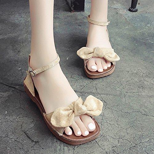 RUGAI-UE Butterfly punta di rugiada sandali studente fibbia Estate Donna Scarpe per il tempo libero Beige