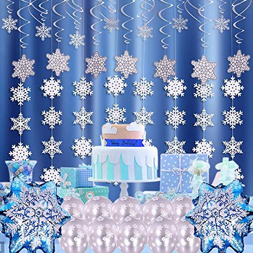VAMEI 48PCS Weihnachten Schneeflocke hängende Dekorationen hängende wirbelt Decke Schneeflocken Aluminiumfolie Ballons Latex Balloons für Gefrorene unter dem Motto Party Supplies Weihnachtsschmuck