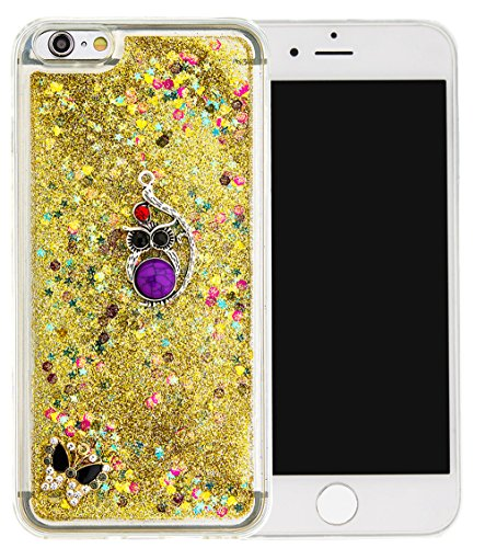 Nnopbeclik Silikon Hülle Transparent Für Apple Iphone 6 Plus / 6S Plus, Durchsichtig Ultra Slim TPU 3D Fließende Flüssigkeit Shiny Weich Schutzhülle Tasche Bunt Muster mit Diamant Applikationen [DIY M #13