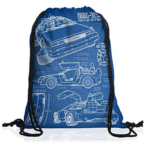 style3 DMC-12 Blaupause Rucksack Tasche Turnbeutel Sport Jute Beutel