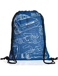 style3 DMC-12 Cianotipo Bolsa mochila bolsos unisex gymsac fotocalco azul
