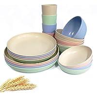 Ensemble de vaisselle en paille de blé - 20 pièces - Assiettes légères - Bols - Tasses - Vaisselle incassable - Pour…