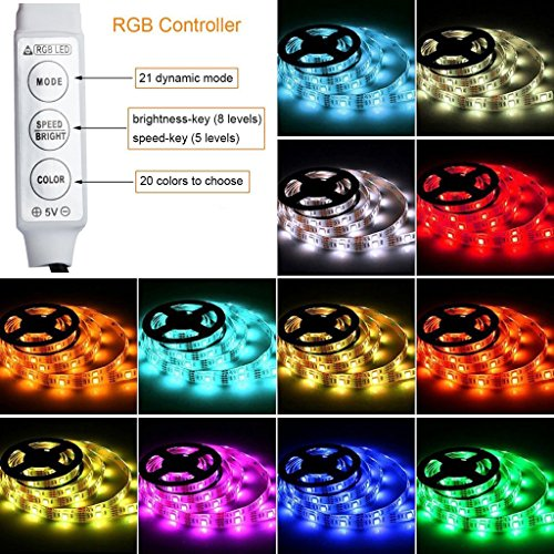 Simfonio Led Streifen Beleuchtung 1M 3.28Ft 30Leds IP65 Wasserdicht 5050 SMD Rgb Led Full Kit mit Mini Controller und USB Kabel für Heim Dekorative