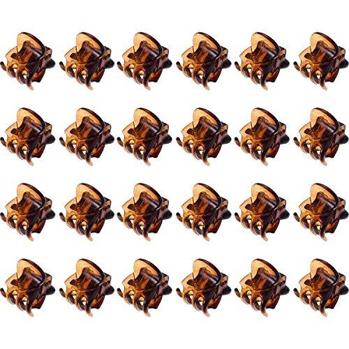 Mini Pinces à Cheveux en Plastique Pinces à Cheveux Griffes pour Fille et Femme (24 Pièces, Marron)