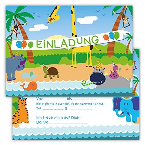 12 Lustige Einladungskarten Set für Kindergeburtstag Dschungel Party für Jungen Mädchen Kinder Karten Löwe Tiger Affe Giraffe Papagei Schlange Nilpferd witzig Safari Urwald fröhlichen Tieren Zoo