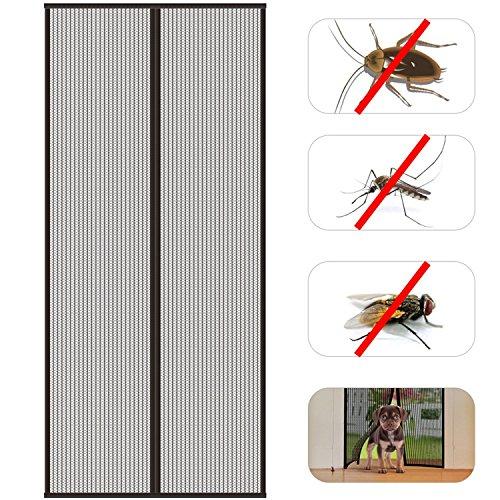 HOMFA Fliegengitter Tür Insektenschutz Moskitonetz Tür Magnet Fliegenvorhang Klebemontage ohne Bohren Türvorhang für Balkontür Wohnzimmer Schiebetür Terrassentür schwarz 90 x 210cm