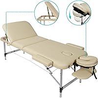 Naipo Table de Massage Pliante, 3-Section, Lit de massage, Professionnelle Cosmétique Table, Hauteur Réglable, Pieds en Aluminum pour Reiki Massage Spa Tatouage Beige (poids Capacité: 270kg)