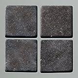 MosaixPur 20x 20x 4mm 200g 45-TLG. Natur Stein Mosaik Fliesen, schwarz