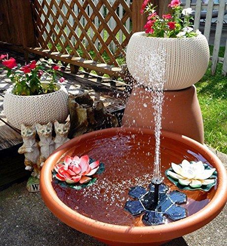 Demana Solar Brunnen Pumpe mit Batterie-Unterstützung, 1.5W teich brunnen garten für Vogel Bad, kleinen Teich, Garten und Rasen(Schwarz)