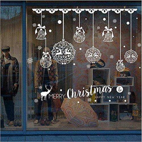 Hukz 1 Stück Weihnachtsdeko Merry Christmas Schaufensterdekoration Weihnachtssticker Wandaufkleber Fenster Aufkleber Engel Bälle Weihnachten Xmas Vinyl Fensterbilder Aufkleber Dekoration
