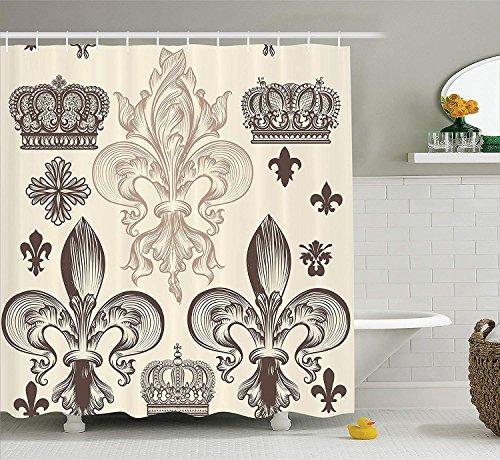 GAOFENFFR Heraldisches Muster mit Lilie und Kronen-Tiara-Iris-Blumen-Wappen Ritter-Gewebe-Badezimmer-Duschvorhang es beige Tan