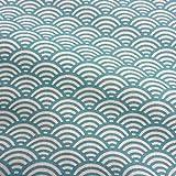 Stoff Baumwollstoff Meterware Japan Wellen lagune weiß