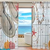 DEYYA 2 PCS Fensterdekoration Sheer Curtain Panels, Seestern Shell Holzpantoletten, Fenster Tie Top Vorhang 55x78 Zoll 2 Panels Set 55x84x2 (IN) Mehrfarbig