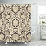 Bath Curtain, Fabric Shower Curtain with Hooks Brown Painting Snake Skin Pattern Light Snakeskin Design Animal Reptile Python Beige Decorative Bathroom Treated to Resist Deterioration by Mildew