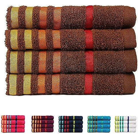 Casa Copenhagen Exotic Collezione - Set di 4 asciugamani per la mani in cotone, qualità 475 g/m², Colore: Marrone
