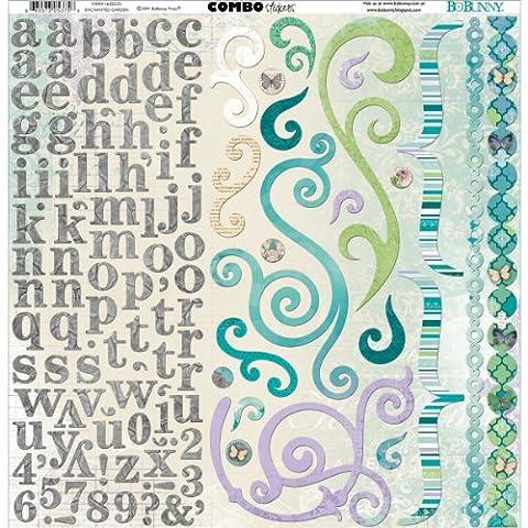BoBunny 12 x 12-inch Enchanted Garden Card Stock Sticker Combo,