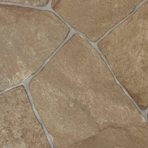 PVC-Boden in Fliesen-Optik & Bruchsteinoptik Hell | Muster | Vinylboden versch. Längen | Fußbodenheizung geeignet | Platten strapazierfähig & pflegeleicht | robuster, rutschhemmender Fußboden-Belag