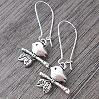 Minimal Bird on Branch Earrings, Mid length, in Silver tone, includes Gift box