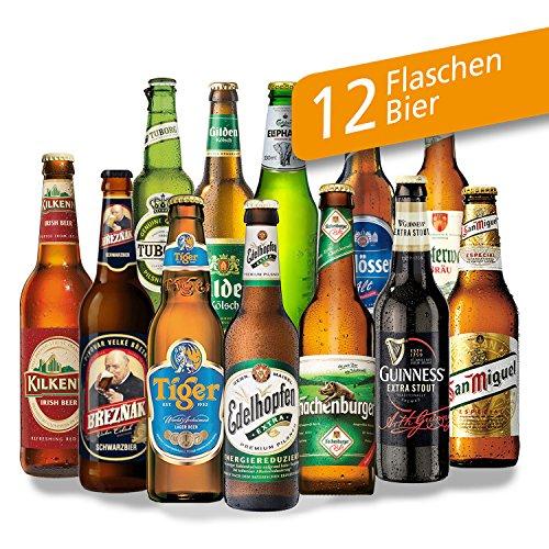 """12x Bier Geschenke """"Welt & Deutschland"""" Geschenkset mit Bier aus Türkei + Dänemark + Niederlande +…Efes + Tuborg + Heineken +… und aus Deutschland. Tolles Bier Geschenk für Männer mit Biersorten aus ganz Deutschland und aus aller Welt. Besser als Bier selber machen oder selbst brauen. Biergeschenke für Papa + Vater + Väter + Opa + … Geschenke für Männer mit Bier. Valentinstags Geschenkideen für Männer/ Geschenk-Idee mit Bier. Geschenke Valentinstag für Ihn Valentinstag Geschenk"""