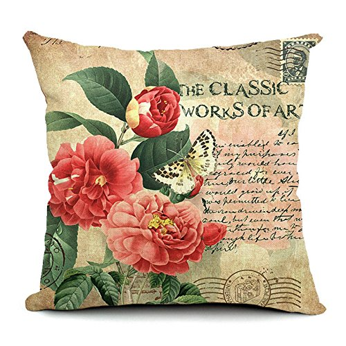 Anddod Flowers Pattern Quote Pillow Case Sparkly and Colorful Cotton Linen Vintage Style Cushion Cover - 4