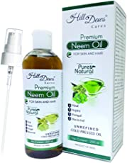 HillDews Neem Oil (200 ml) Cold Pressed For Skin & Hair With Lotion Pump