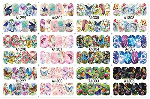 NAIL WRAPS - Water Transfer Nail Art Sticker - Full Cover BUTTERFLY Designs - bunter Schmetterlinge Mix - CUTE NAILS