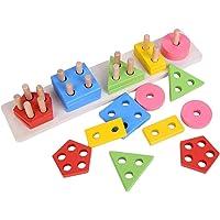 Wooden Intellectual Geometric Shape Matching Five Column Blocks Educational & Learning Toys